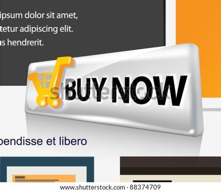 BUY NOW. Vector web button. - stock vector