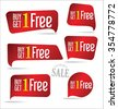 Buy one get one free, promotional sale labels collection - stock vector