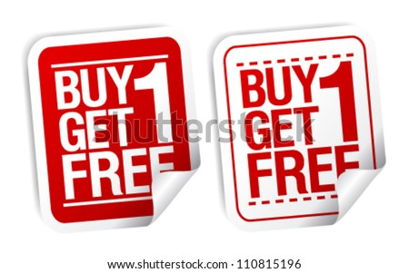 Buy one get one free, promotional sale stickers set.