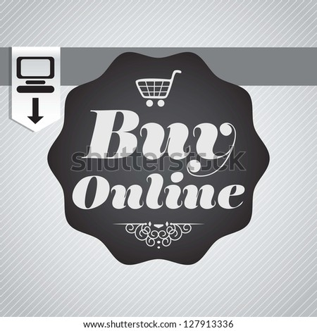 Buy Online concept banner on grey background. Vector Illustration - stock vector