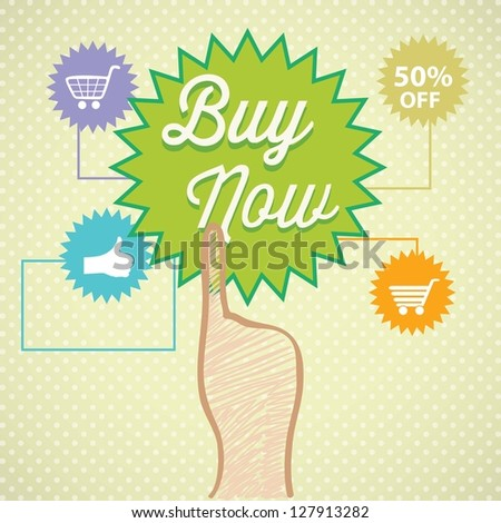Buy Online label with, media Icons and hand. On vintage background