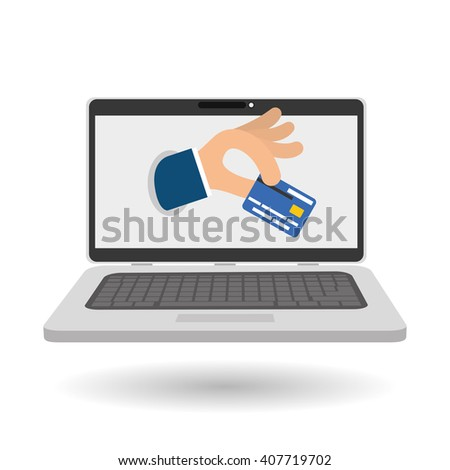 Buy online over white background, laptop design