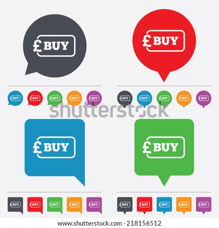 Buy sign icon. Online buying Pound gbp button. Speech bubbles information icons. 24 colored buttons. Vector - stock vector
