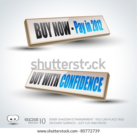 Buy with Confidence  3D Panels with Transparent Shadows and glossy reflection. Ready to copy and past on every surface. - stock vector