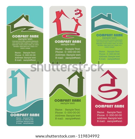 buy your own home, vector collection property and real estate business cards - stock vector