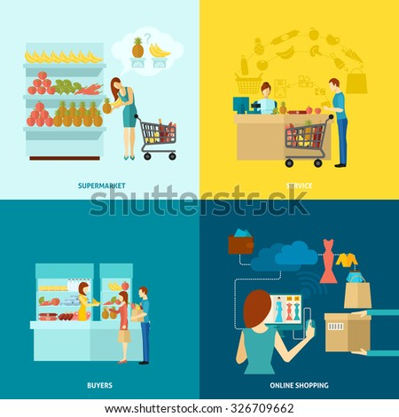 Buyer design concept set with supermarket and online shopping service flat icons isolated vector illustration - stock vector