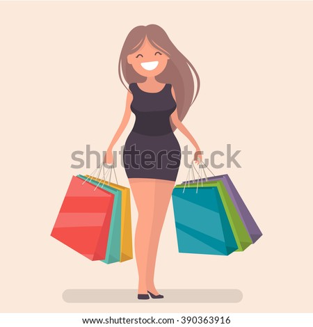 Buyer. Girl with shopping bags from the store. Sale. Vector illustration of a flat design - stock vector