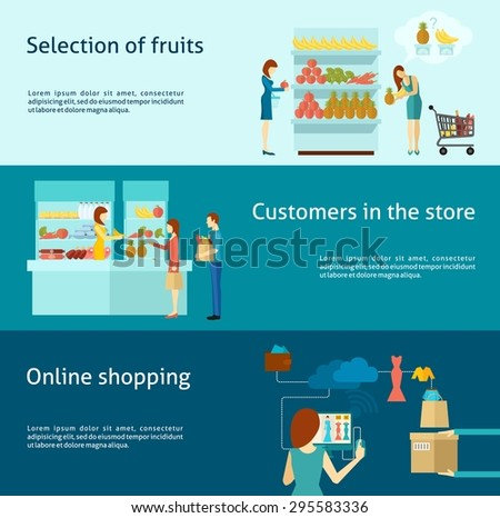 Buyer horizontal banner set with flat online shopping elements isolated vector illustration - stock vector