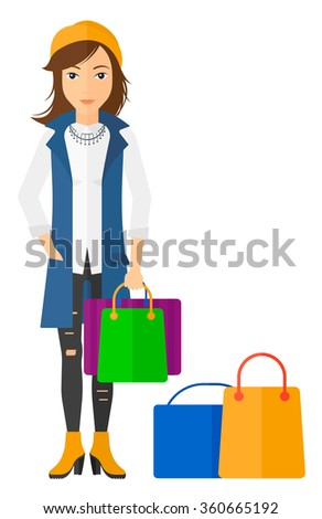 Buyer with shopping bags. - stock vector