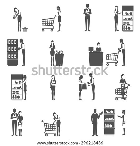 Buyers and supermarket customers black icons set isolated vector illustration - stock vector