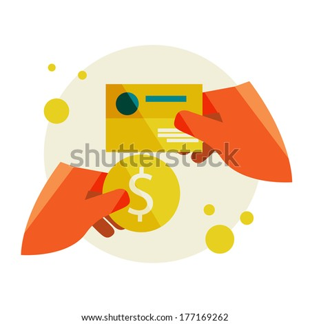 Buying a business card. Hand holding a business card and hand holding a coin. Flat design modern vector illustration stylish colors of hand holding a business card and hand holding a coin - stock vector