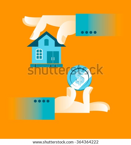 Buying a home. Hand holding house. Vector illustration - stock vector