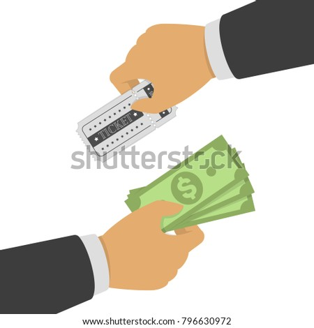 Buying ticket for money. One Hand holding ticket and second hand holding money bill. Buy or selling tickets concept. Sale purchase transaction. Vector illustration in flat style. EPS 10.