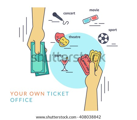 Buying tickets. Flat line contour illustration of human hand purchasing two tickets by cash and other hand gives the tickets - stock vector
