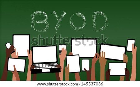 BYOD Concept Bring Your own Device children hands holding computer tablet and smartphone devices by Green Chalkboard with Text EPS10 Grouped Objects  - stock vector