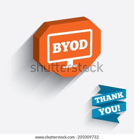 BYOD sign icon. Bring your own device symbol. Monitor tv icon. White icon on orange 3D piece of wall. Carved in stone with long flat shadow. Vector - stock vector