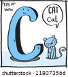 C-Cat cartoon alphabet vector. - stock photo