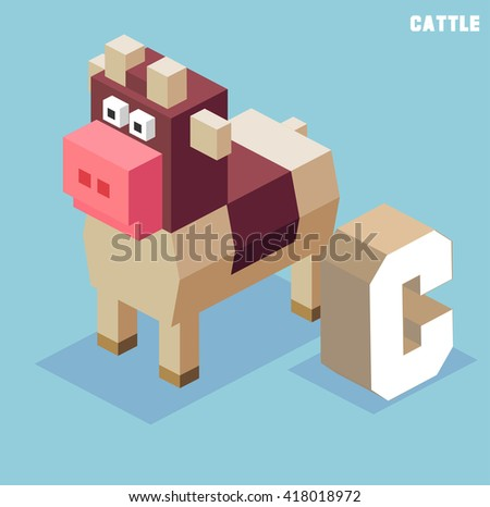 C for Cattle, Animal Alphabet collection. vector illustration - stock vector
