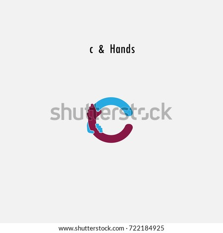 C Letter Abstract Icon Hands Logo