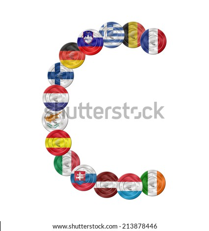 c letter design created with euro coin with flags  - stock vector