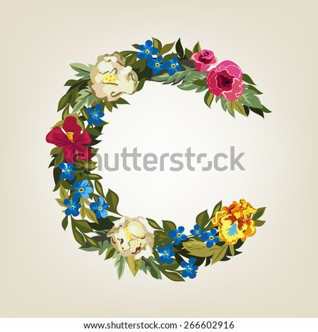 C letter. Flower capital alphabet. Colorful font. Uppercase.  Vector illustration. - stock vector