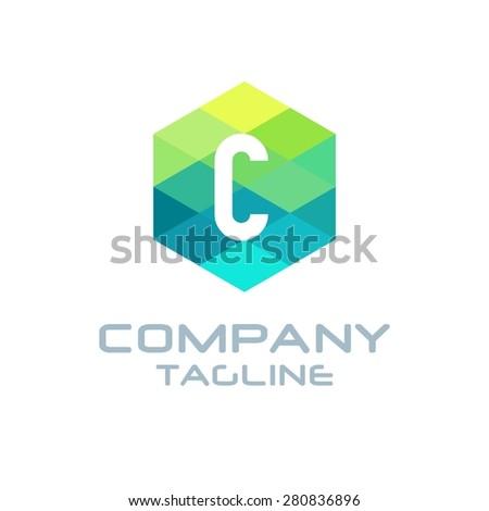 C Letter Logo Icon Hexagon Mosaic Pattern Design template Element - Creative Shape Polygonal logo design - Vector illustration - stock vector