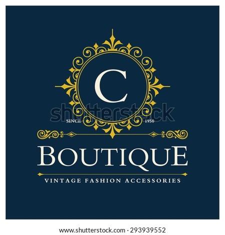 c Letter logo, Monogram design elements, line art logo design. Beautiful Boutique Logo Designs, Business sign, Restaurant, Royalty, Cafe, Hotel, Heraldic, Jewelry, Fashion, Wine. Vector illustration - stock vector