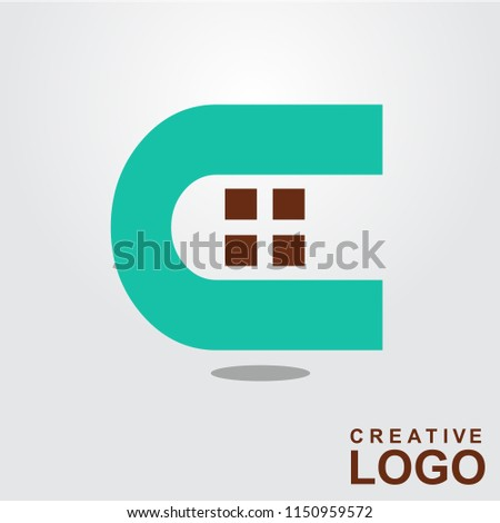 C Logo Creative Home Property Concept with color green, brown