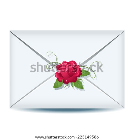C?losed envelope with pink rose - stock vector