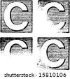 C part of a complete alphabet of vintage rubber stamp letters - stock photo