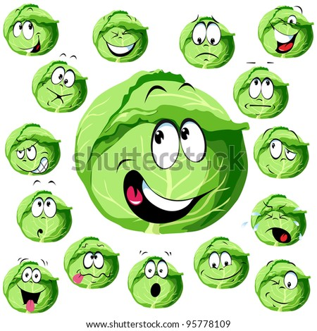 cabbage cartoon with many expressions - stock vector