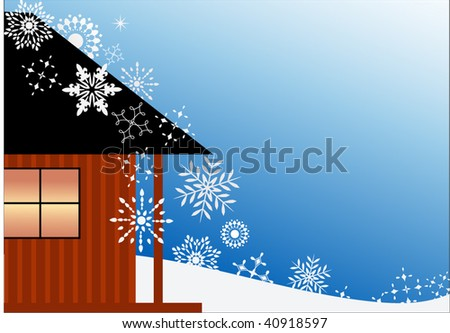 Cabin  and snowfall (copyspace)