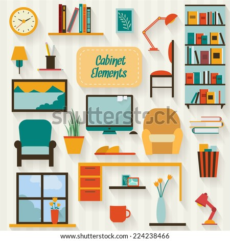 Cabinet furniture and objects set with long shadows. Flat style vector illustration. - stock vector