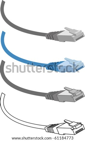 cable rj45, Patch Cord Cable, logo design - stock vector