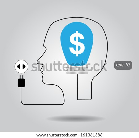 Cable with plug and an lamp form a profile of the person vector - stock vector