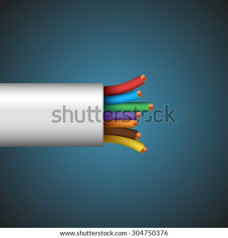 Cables and wires. On a dark background. Stock Vector. - stock vector