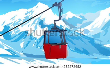 Cableway in Swiss Alps at winter. EPS 10 format. - stock vector