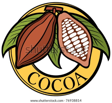 Cacao - cocoa beans label (symbol, badge, sticker) - stock vector