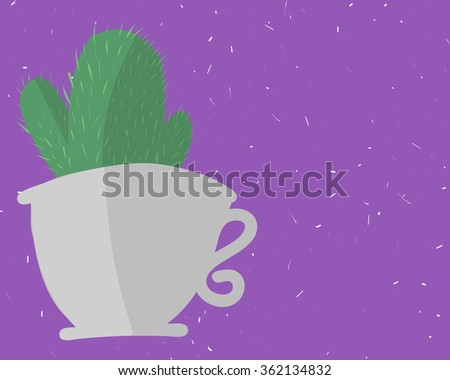 cactus in a mug on a purple background