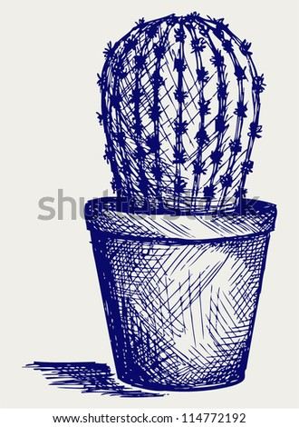 Cactus in desert. Doodle style - stock vector