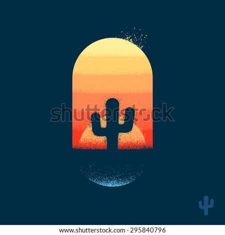 Cactus in desert illustration emblem with texture - stock vector