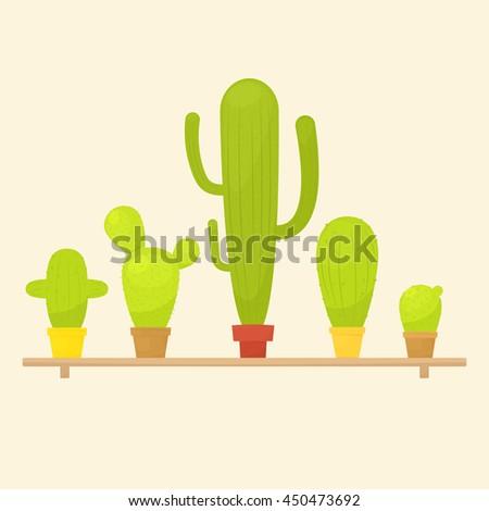 Cactus in pots on shelf - stock vector