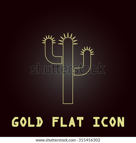 Cactus. Outline gold flat pictogram on dark background with simple text.Vector Illustration trend icon - stock vector
