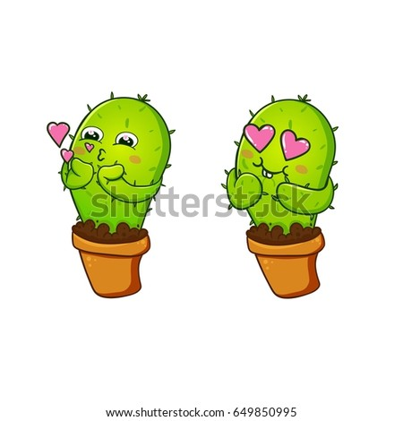 Cactus print in vector cute sticker set postcard love kuss