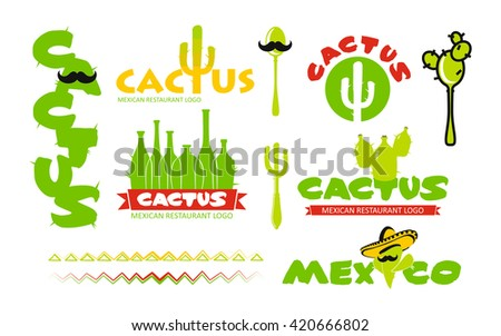 Cactus restaurant logo set - stock vector