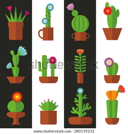 Cactus seamless pattern.Modern flat vector.Collection of blooming succulents,strips ba?kground.Green plant icons,desert nature,floral exotic,tropical flower,Home garden,wild botany illustration. - stock vector