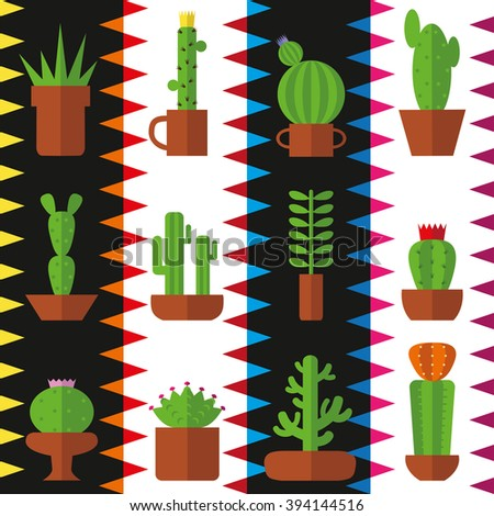 Cactus seamless pattern.Modern flat vector.Collection of succulents,strips  zigzag background.Green plant icons,desert nature,floral exotic,tropical flower,Home cactus garden,wild botany illustration. - stock vector