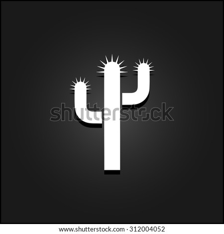 Cactus. White flat simple vector icon with shadow on a black background - stock vector