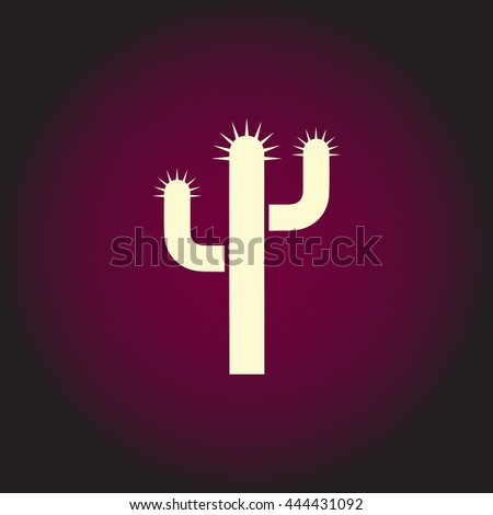 Cactus. White vector icon on dark background. Flat pictogram - stock vector