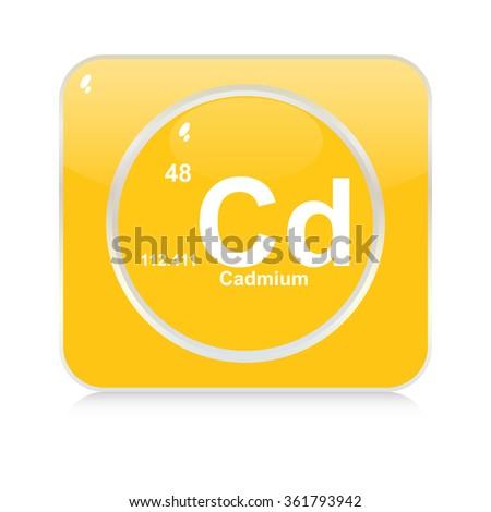 cadmium chemical element button - stock vector
